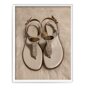 Michael Kors Mini Logo T Strap Thongs Sandals